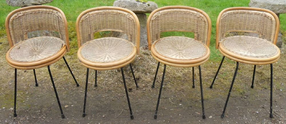 Set of Four Retro Bamboo Frame Tub Seat Chairs
